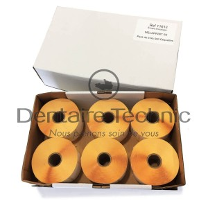 Pack 6 Rouleaux 900 étiquettes Simple Encollage Melaprint 60 - MELAG